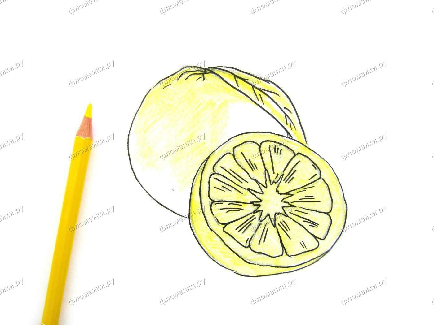 Рисунок Половинка апельсина для срисовки 08