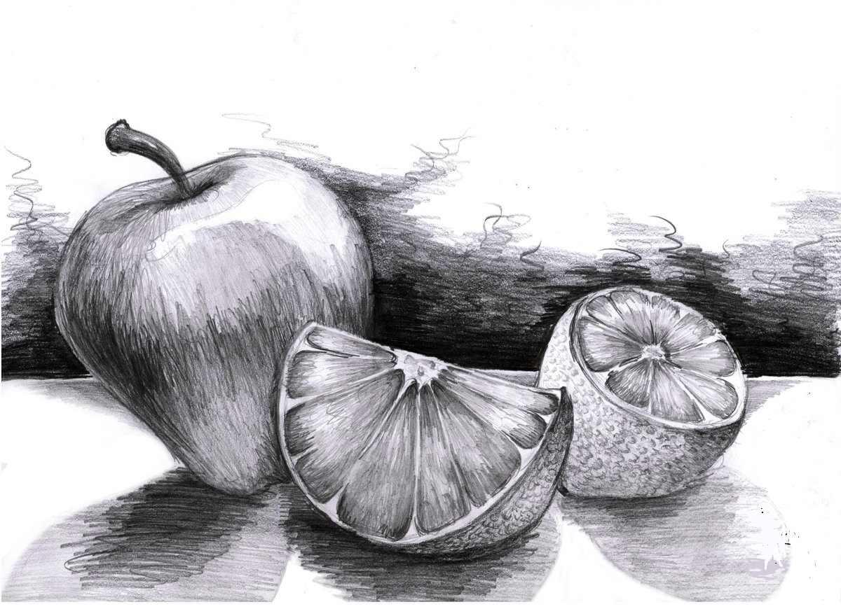 Рисунок Половинка апельсина для срисовки 13