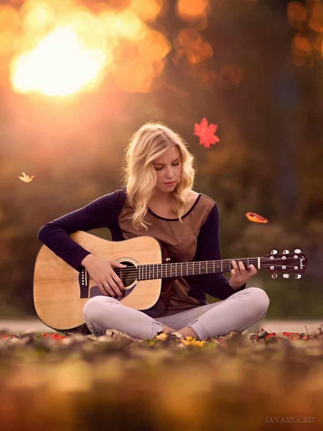 Красивая девушка с гитарой фото, картинки 16