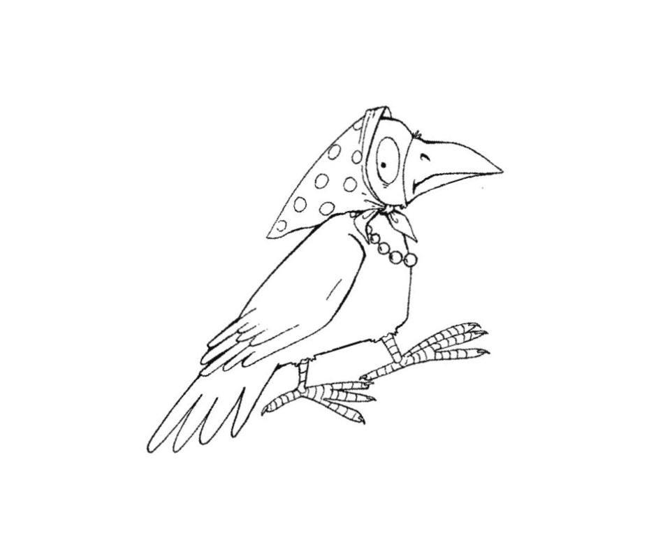Картинки раскраска для детей Ворона (1)