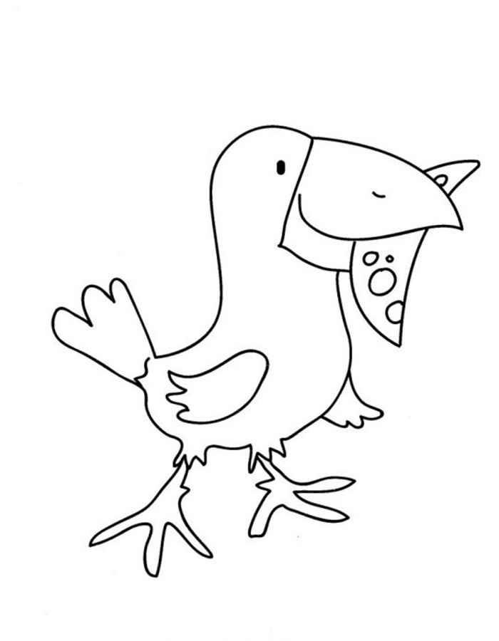 Картинки раскраска для детей Ворона (4)