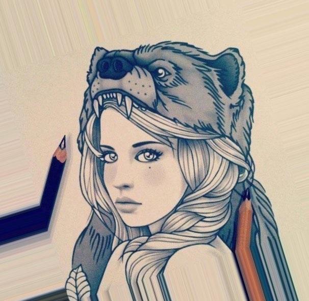 Картинки рисованные девушек брюнеток (1)
