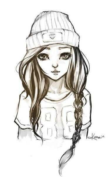 Картинки рисованные девушек брюнеток (25)