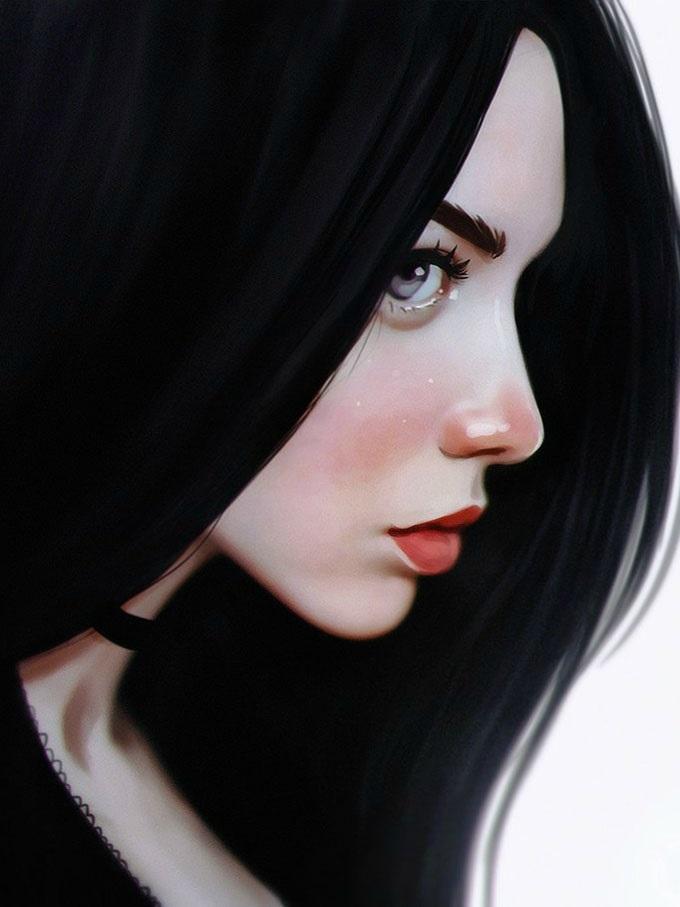Картинки рисованные девушек брюнеток (8)