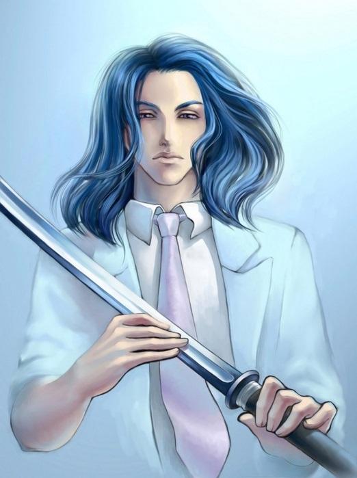Красивый парень с голубыми волосами арты   подборка (11)