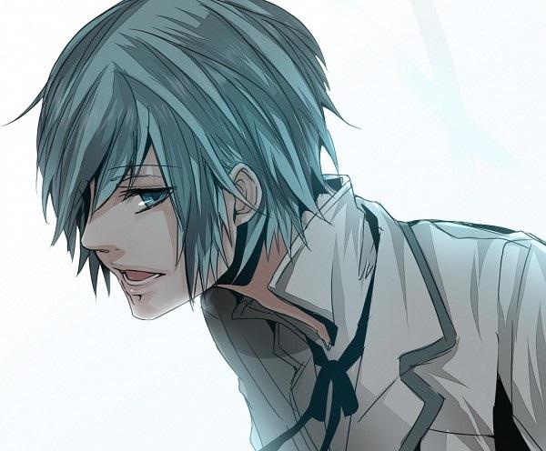 Красивый парень с голубыми волосами арты   подборка (14)
