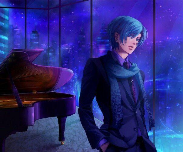 Красивый парень с голубыми волосами арты   подборка (16)