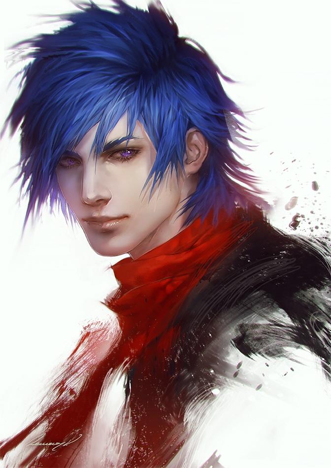 Красивый парень с голубыми волосами арты   подборка (4)
