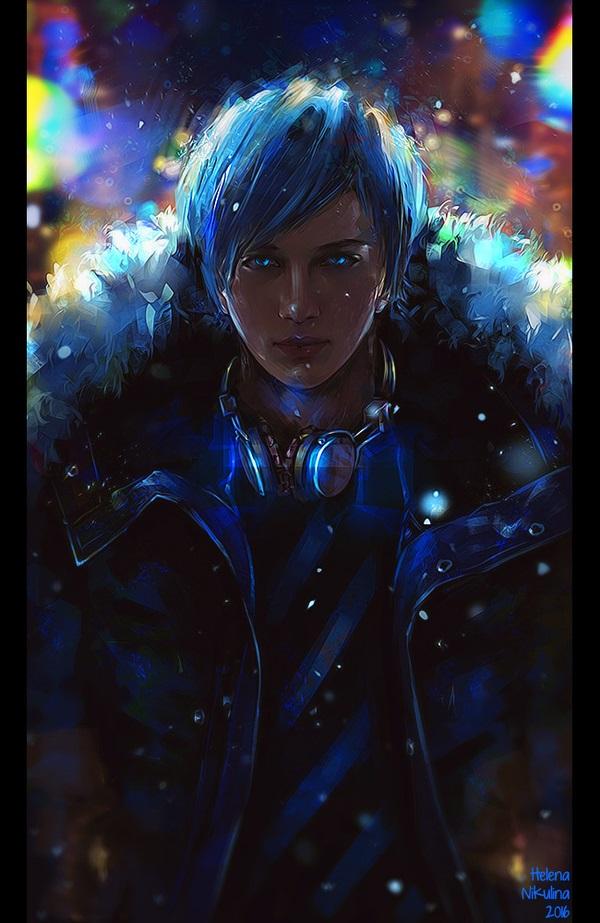 Красивый парень с голубыми волосами арты   подборка (6)