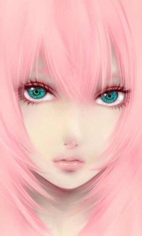 Самые милые картинки девушки с розовыми волосами (1)