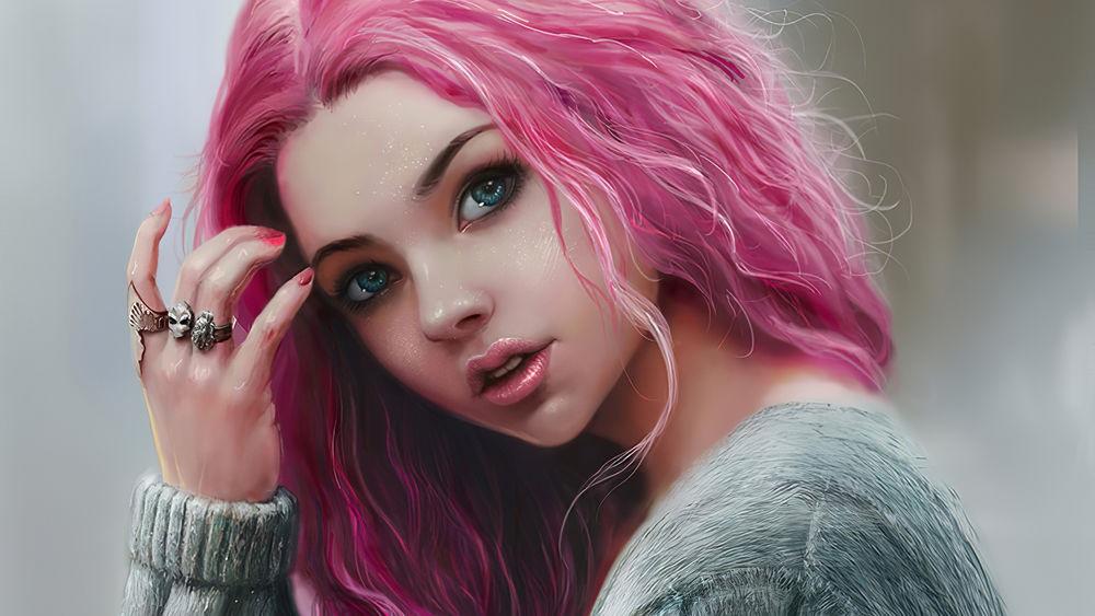 Самые милые картинки девушки с розовыми волосами (11)