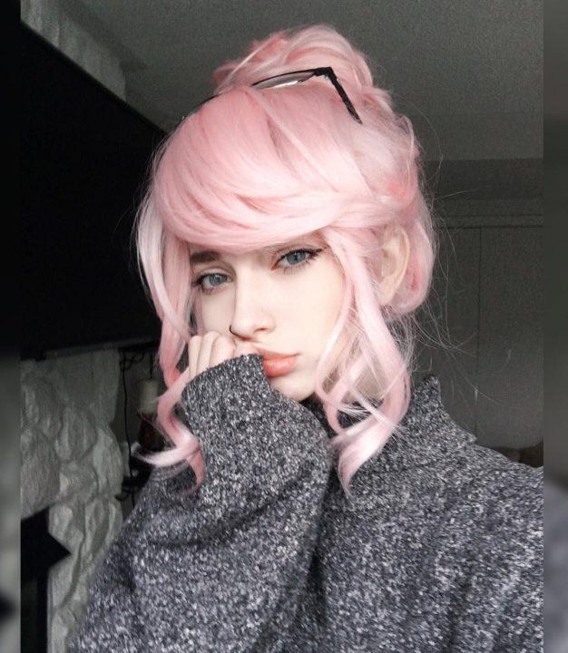 Самые милые картинки девушки с розовыми волосами (13)