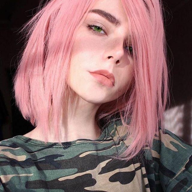 Самые милые картинки девушки с розовыми волосами (17)